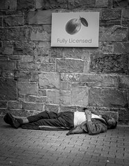 Fully: Satisfied (Bazzography! {AWAY}) Tags: leica ireland sleeping bw silly galway smile wall comfortable drunk restaurant blackwhite funny eire giggle stonewall asleep relaxed licence lyingdown laydown inebriated overindulgence homorous licenced fullylicenced leicac licencedpremises bazmatthews