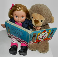 Story Time For Jane And Gundy (marilyntunaitis) Tags: toys monkey book dolls jane plush stuffedanimals gundy the365toyproject 2014photoadaychallenge 2014ayearinpictures youandmefriends
