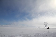"Mt Erebus pokes out of the fog beside the balloon • <a style=""font-size:0.8em;"" href=""http://www.flickr.com/photos/27717602@N03/16112598926/"" target=""_blank"">View on Flickr</a>"