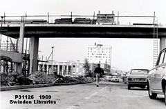 1969: Construction of footbridge across Princes Street, Swindon (Local Studies, Swindon Central Library) Tags: bw 1969 court construction scaffolding swindon princesstreet police ladder 1960s courts wiltshire demolished adver clarkbros wiltsnews wiltshirenewspapers p31126