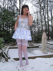 Cold girl (Paula Satijn) Tags: winter white snow cold sexy ice stockings girl garden pond shiny dress legs skirt tgirl transvestite satin miniskirt gurl silky