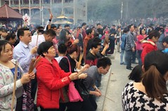 Chinese New Year prayer at Phoenix Mountain Temple, 2015 (A China) Tags: china temple praying chinesenewyear chinadigitaltimes