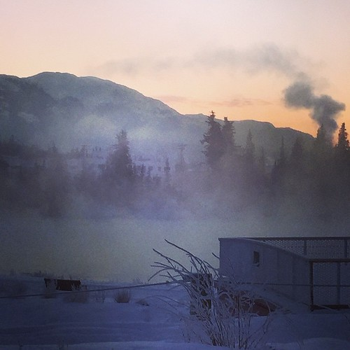 -33C brisk #yxy morning, ice fog hangs over open water of #Yukon River.