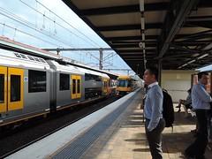 Sydney Trains - Waratahs A18  (on Platform 18) and A78 (Platform 17) at Central (john cowper) Tags: sydney newsouthwales peakhour centralrailwaystation sydneytrains a18 a78 suburbanrailways