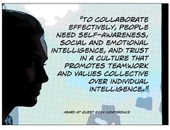 "Educational Postcard: ""To collaborate effectively, people need..."" (Ken Whytock) Tags: people work team culture social intelligence trust emotional collective individual values collaborate selfawareness effectively promotes"
