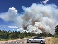 July 9, 2016 - A Colorado State Patrol vehicle blocks a road near a wildfire near Nederland. (CSP)