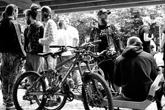 Chillin' (Dan Eckberg) Tags: party fun crowd bw bicycle cool beard urban