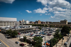 Parking in the Itty-Bitty-City (Sharky.pics) Tags: urban city wisconsin tiltshift july cityscape 2016 miniature milwaukee downtown