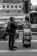 and then... the apple was talking to the snake (Lens a Lot) Tags: paris | 2016 lzos zenit jupiter9 85mm 2  9 15 blades aperture preset lens 1992 m42 mount f4 black white street photography depth field bokeh contrast vintage manual prime russian noir et blanc monochrome