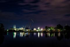 Industrial night (Job I) Tags: blue sky industry night reflections germany lights canal europe long exposure industrial purple steel area ruhr ruhrgebiet dortmund emskanal nordstatt