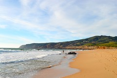 peaceful walk (ekelly80) Tags: portugal june2016 summer beach sand water ocean atlanticocean praiadoguincho sun sunset light eveninglight waves surf cliffs peaceful walk footprints view scenery beautiful