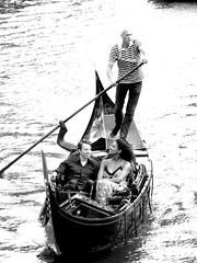 utrecht (gerben more) Tags: people water netherlands monochrome boat blackwhite couple utrecht nederland gondolier oudegracht gondol