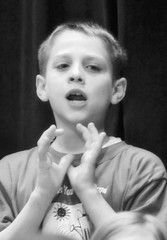 2016-04-07 (162) Fred D ES 2nd grade show (How Does Your Garden Grow) evening (JLeeFleenor) Tags: photos photography virginia va leesburg loudouncounty frederickdouglass elementaryschool twins inside indoors youthactivities youth skit bw blackwhite monochrome