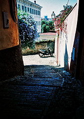 San Remo scooter (Stephen Dowling) Tags: italy film 35mm xpro lomography crossprocessed sanremo cosinacx2 agfact100precisa