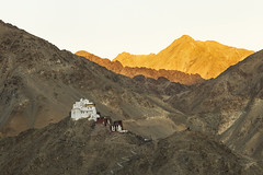 leh palace at sunset (dr_zook81) Tags: sunset sun india mountain mountains building beautiful architecture canon landscape temple outdoor buddha buddhist hill peak monk palace ridge monastery telephoto mountainside kashmir peaks leh 70200 ladakh arete