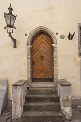 Medieval Door In Tallinn (AudioClassic) Tags: tallinn estonia estonianculture town roof europe famousplace lantern castle city internationallandmark street cityscape day cathedral church tower builtstructure capitalcities buildingexterior blue ancient old stone architecture window