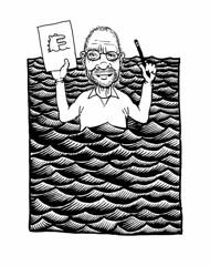 Don on location sketching (Don Moyer) Tags: kickstarter ink drawing moleskien notebook moyer donmoyer brushpen waves sea selfportrait