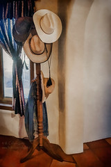 Hat Rack (inlightful) Tags: hat rack cowboy cowboyhat hatrack coatrack interior window tile adobe southwest newmexico ranch
