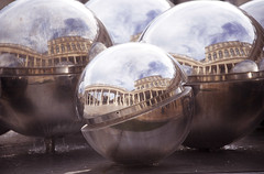 (E.Hunt.) Tags: metalic balls reflections water sphere spherical sky distortion warped bent mirrored mirror