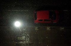 Street at night (mariazaharievaPH) Tags: red car color street rain rainy paving stone photography lamp light sofia bulgaria