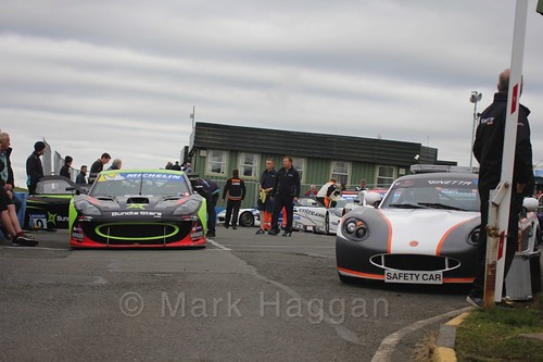The Ginetta GT4 Supercup Assembly Area at Knockhill