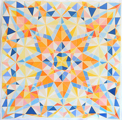 kaleidoscope star (jani.na) Tags: kaleidoscope star silk scarf handpainted hand painted gold gutta multi colour multicolour colourful color colorful french silkdyes dyes yellow orange red pink blue geometric geometrical squares triangles shapes kites diamonds lines quilt patchwork design janina jani nanavati 2016