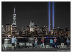 Tribute in Light - 2014 (GAPHIKER) Tags: tributeinlight newyorkcity 911 2001 lowermanhattan jerseycity libertystatepark newjersey wtc 1wtc light blue remembrance neverforget worldtradecenter