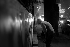 Bring the art down on the street and they will come! (Cristian tefnescu) Tags: street blackandwhite night nacht oldman nuit bucharest bukarest noapte bucureti piatauniversitatii universitatiisquare piaauniversitii strassestrase palatuluu colea muzeulorauluibucureti