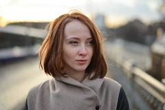Karina (re-post) (Pavels Dunaicevs) Tags: street city bridge winter red portrait urban cute girl face hair evening pretty close bokeh