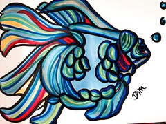 Not so Goldfish (Damana) Tags: blue red fish colour art yellow goldfish drawing bubbles marker outline copic