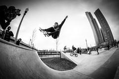 Kyle (PhotoJacko - Jackie Novak) Tags: city urban bw chicago monochrome skyscraper blackwhite skateboarding fisheye skate club16 rokinon8mmfisheye grantparkskatepark