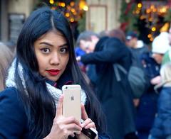 I-phone girl (e) Tags: christmas xmas brussels portrait woman apple girl beauty face lady female photographer belgium b