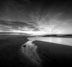 The Don Mouth At Sunrise, Aberdeen (In Explore) (PeskyMesky) Tags: blackandwhite monochrome canon scotland aberdeen northsea riverdon bridgeofdon canoneos500d thedonmouthatsunrise thedonmouth