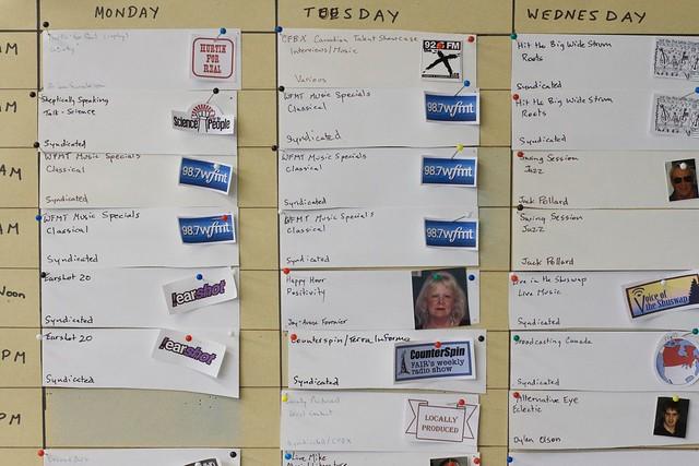 CFBX Radio Schedule Board