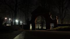 20150107 (mkniebes) Tags: friedhof cemetery night dark lights gate availablelight nackt tor bochum floodlights weitmar flutlichter fujinonxf23mm