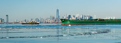 Frozen New York Harbour (Globalviewfinder) Tags: new york nyc winter usa snow cold ice harbor frozen us ship harbour flag pioneer chemical