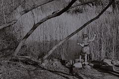 She Of The Reedy River (MPnormaleye) Tags: bw blur nature girl monochrome strange river reeds weird blackwhite pond desert dream odd vision fantasy utata banks