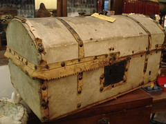 "VELLUM COVERED HIDE TRUNK, C. 1840 • <a style=""font-size:0.8em;"" href=""http://www.flickr.com/photos/51721355@N02/16100621260/"" target=""_blank"">View on Flickr</a>"