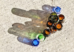 1 Set of Bottle Top with Assorted Shadows (Mertonian) Tags: blue 2 two brown sun reflection green texture beer glass colors set canon concrete bottle shadows with mark top cement shades powershot clear ii ll exposed assorted g1x canonpowershotg1xmarkii canonpowershotg1xmark2 setofbottletopwithassortedshadows monkofthewestdesertcom
