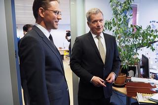 Presidentti Niinistö ja EU-komission varapuheenjohtaja Jyrki Kataisen Brysselissä 21.1.2015.