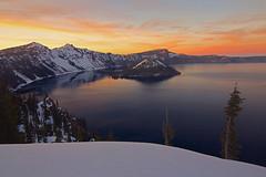 Crater Lake Winter Sunset (Cole Chase Photography) Tags: winter sunset oregon dusk pacificnorthwest craterlake february wizardisland craterlakenationalpark