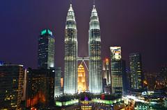 Petronas Towers, Kuala Lumpur, Malaysia (Bokeh & Travel) Tags: longexposure beautiful skyline colorful cityscape nightlights nightscape skyscrapers petronas malaysia bluehour kualalumpur kl klcc suria petronastowers skybar tradershotel