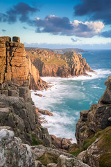 Lands End Cliffs (Christopher Combe Photography) Tags: uk light sunset sea sky nature beauty clouds coast nikon scenery rocks cornwall waves cliffs landsend nikon1835 lee09nd nikond800e