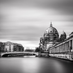 Berliner Dom (One_Penny) Tags: city longexposure bridge sky urban blackandwhite bw white black berlin church architecture clouds composition canon river germany square deutschland photography cathedral blurred capitol squareformat framing spree berlinerdom 6d berlincathedral canon6d