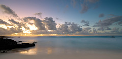 Sunset, Maniniowali Beach, Big Island, Hawaii (Darcey Prout) Tags: ocean longexposure blue sunset usa beach water hawaii nikon exposure hi nikkor d800 1424