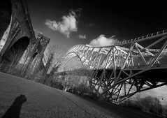 Put in Shadow by the Bridges (Greater Manchester Police) Tags: widnes rivermersey runcornbridge silverjubileebridge britanniabridge widnesbridge ethelfledabridge