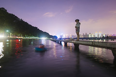 Divide (shane.fu) Tags: city bridge trees people lake water night composition swim hug wuhan divide