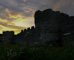 Portchester Castle (Chris A M) Tags: sunset colour castle fuji hampshire portchestercastle fareham portchester