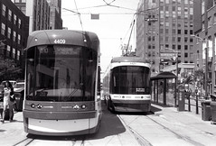 A Pair of New Street Cars_ (Bill Smith1) Tags: asahipentaxkx believeinfilm billsmithsphotography hc110b ilforddelta100 july2016 smcpentaxm50f14lens toronto