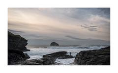 Contemplation (Lindi m) Tags: cornwall trebarwithstrand surf surfer rocks seascape seashore waves atlanticrollers